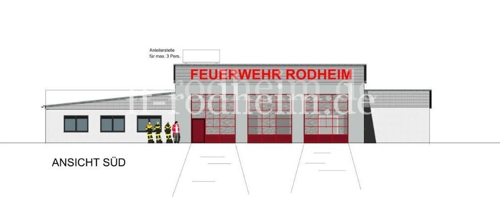 Südseite des Feuerwehrhauses - Ansicht erstellt durch Büro von der Heidt